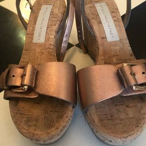 🌟Stella McCartney🌟 Rose Gold Cork Wedge Sandals